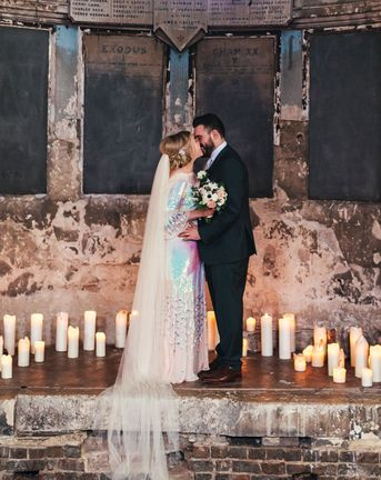 Iridescent wedding dress