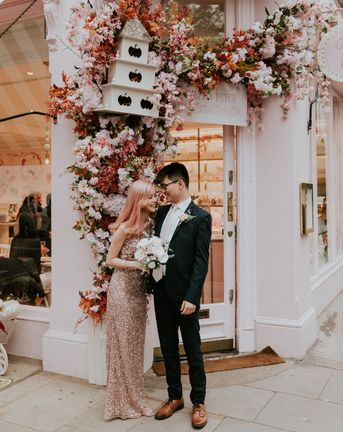 Pink Sequin Wedding Dress