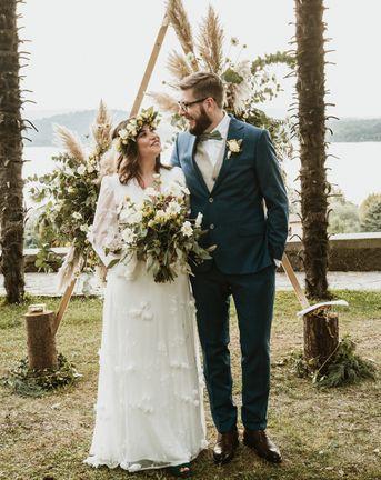 White Wedding Dress With Flowers