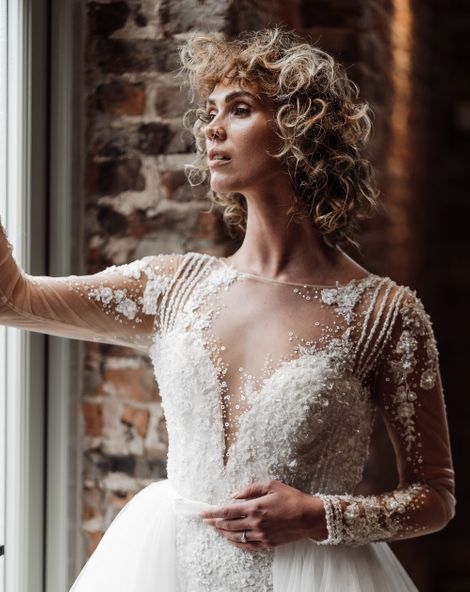 Short Curly Wedding Hairstyle