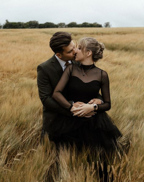 Black Long Sleeve Wedding Dress