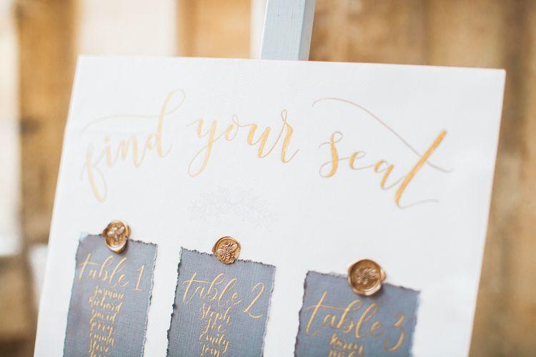 Elegant Grey White & Gold Table Plan