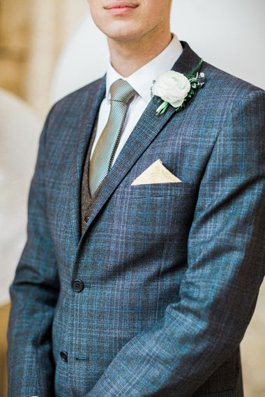 Navy Checked Suit For Groom