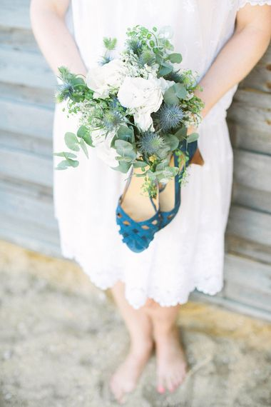 White & Greenery Bouquet & Blue Wedding Shoes
