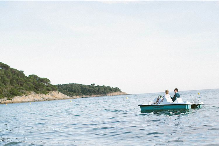 Bride & Groom on a Paddle Boat