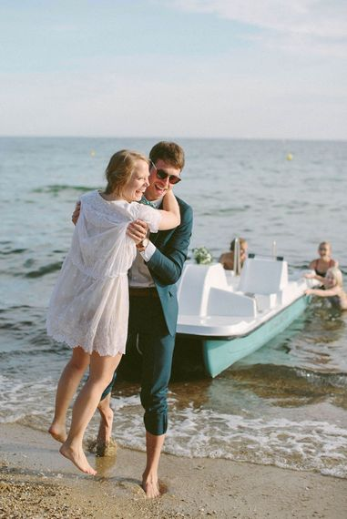 Bride & Groom Coastal Portrait