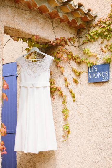 Bride in Short Lace Elodie Michaud Wedding Dress