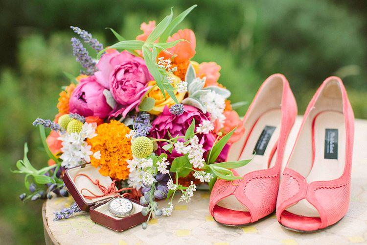 Bright Bouquet & Coral Bridal Shoes