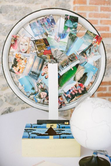 Photographs in a Wheel Wedding Decor
