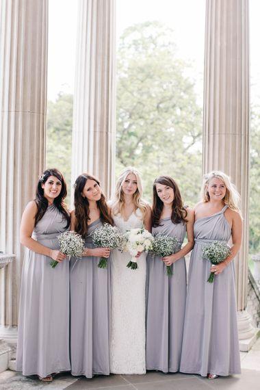 Elegant Bride & Grey Bridesmaid Portrait
