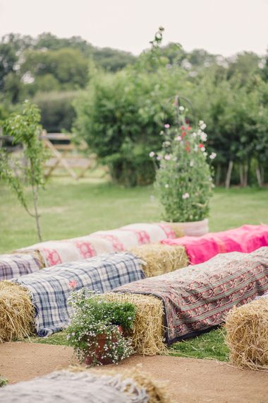 Hay Bale Seats for an Outdoor Wedding Ceremony