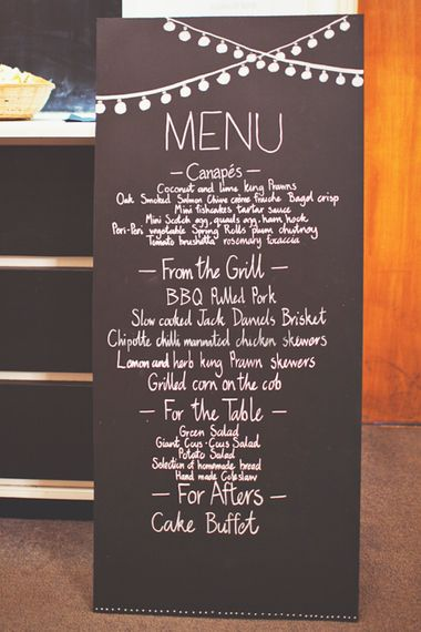 Chalkboard Menu Sign for a BBQ Reception