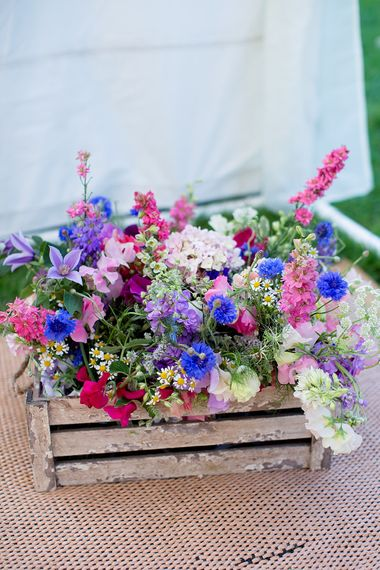 Seasonal Flowers in a Wooden Crate
