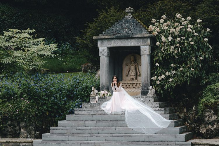 Bride with Lace Sleeves and Long Train