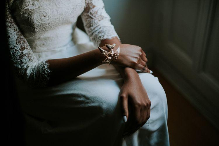 Gold Bird Bangle Bridal Accessory