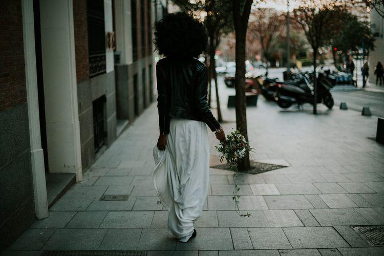 Stylish Bride in Leather Jacket