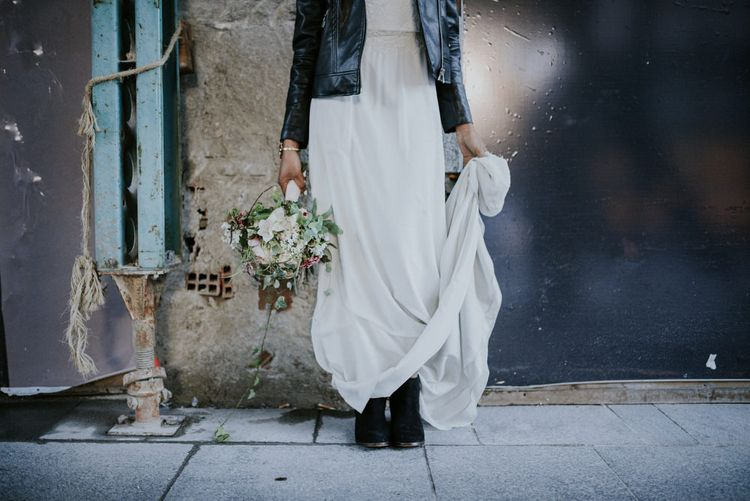 Stylish Bride in Boots & Leather Jacket
