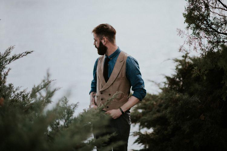 Dapper Groom in Denim & Tweed