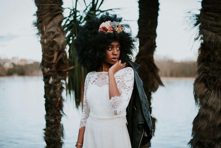 Bride in Lace Otaduy Wedding Dress