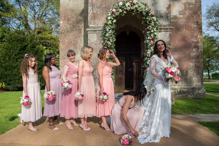 Pink Mis-match Bridesmaid Dresses