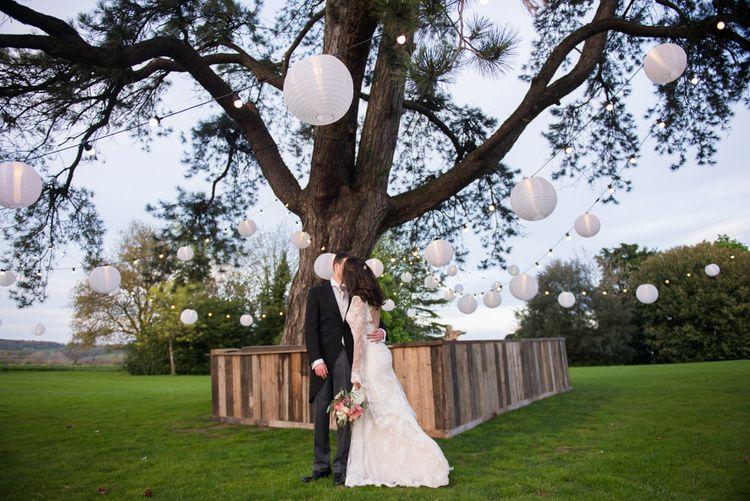 Bride & Groom Portrait with Hanging Lanterns