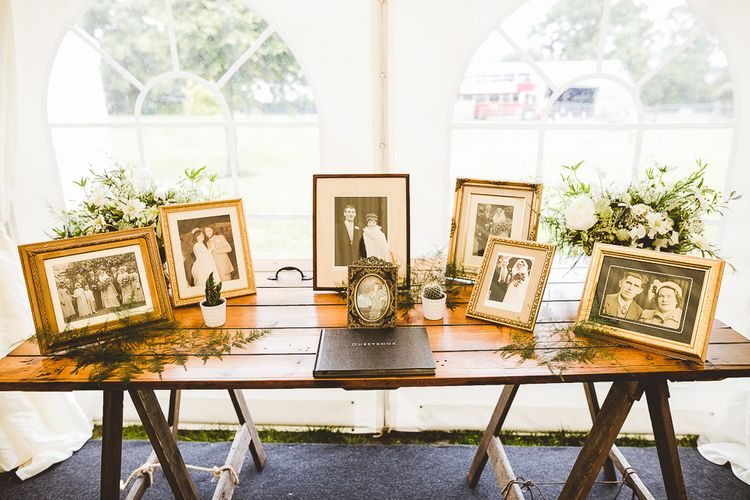 Family Portrait Wedding Table