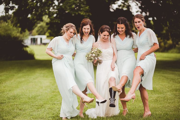 Bridesmaids in Blue ASOS Dresses