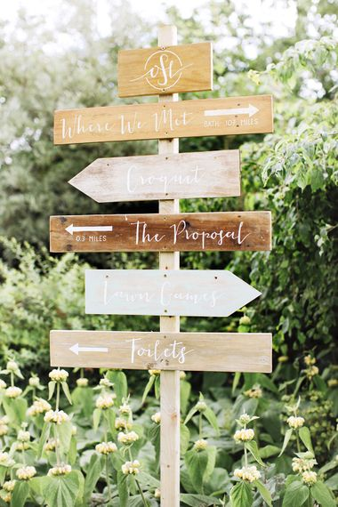 Wooden Wedding Direction Sign Post