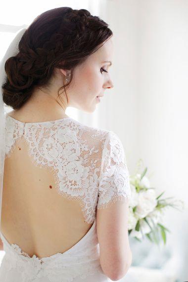 Bride in Backless Jesús Peiró Wedding Dress