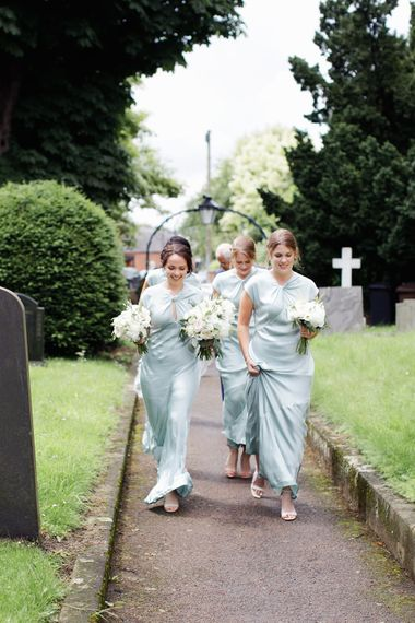 Bridesmaids in Blue Ghost Dresses