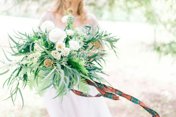 Greenery & White Rose Bouquet