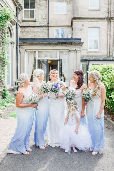 Bridesmaids in Purple Ombre Dresses