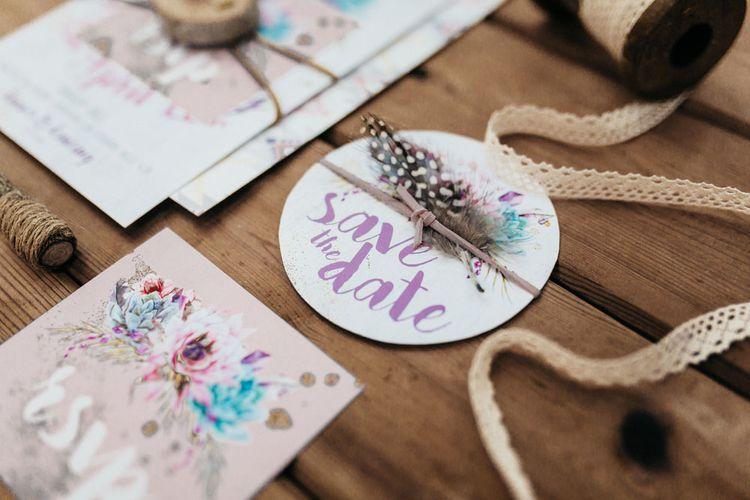 Boho Floral Wedding Stationery