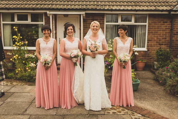 Bridesmaids in Pink & White After Six Dresses