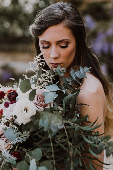Bride With Large Pink & Marsala Wedding Bouquet