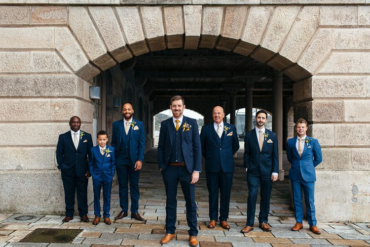Groomsmen in Navy Suits   Relaxed Industrial Wedding at Ocean Studios, Plymouth   Freckle Photography