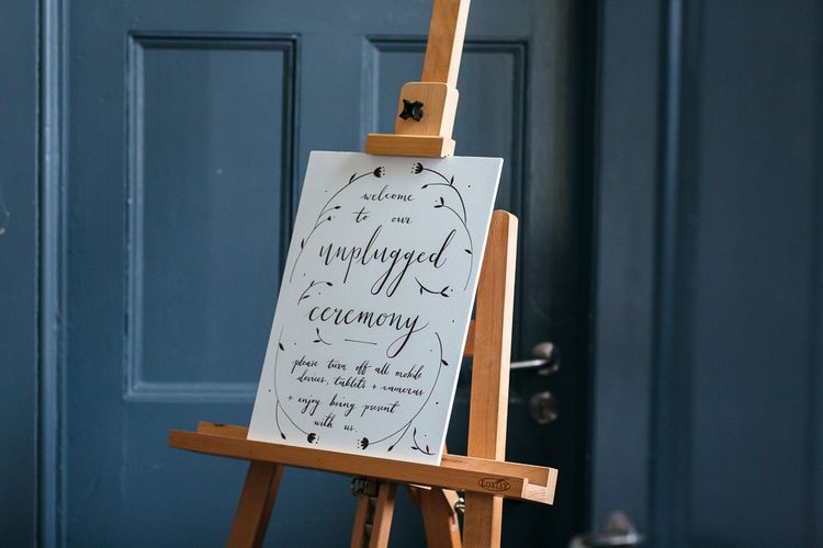 Unplugged Wedding Ceremony Sign     Relaxed Industrial Wedding at Ocean Studios, Plymouth   Freckle Photography