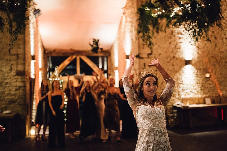 Bouquet Toss For A Grey And Gold Celestial Wedding At Cripps Barn With Images From Samuel Docker Photography