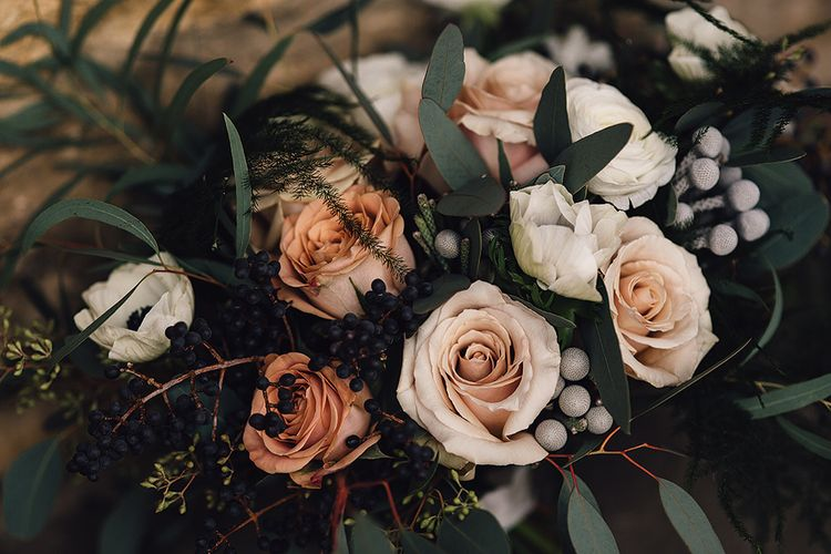 Winter Wedding Bouquet With Roses & Foliage