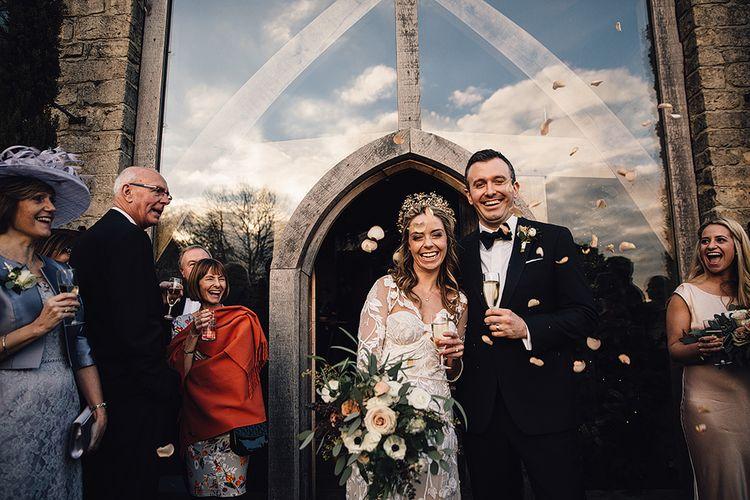 Hermione De Paula Bespoke Wedding Dress & Luna Bea Headpiece