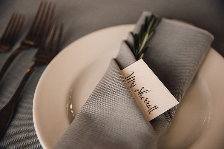 Place Setting With Grey Napkin