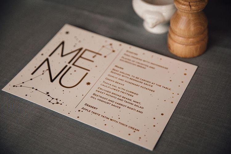 Celestial Inspired Wedding Menu