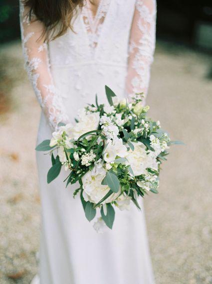 White Wedding Bouquet With Foliage