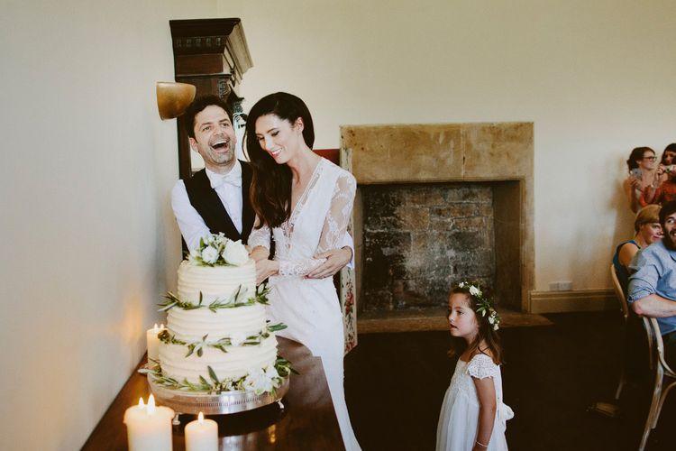 White Buttercream Wedding Cake