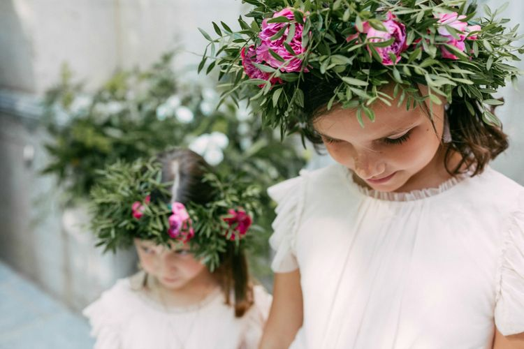 Flower Girls with Greenery & Pink Flower Crowns