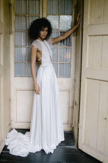 "Wedding Dress by <a href=""https://www.alexandragreccobride.com/"" target=""_blank"">Alexandra Grecco</a>"