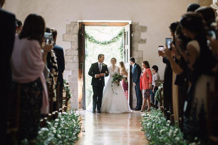 Bridal Entrance in Luisa Beccaria Wedding Dress