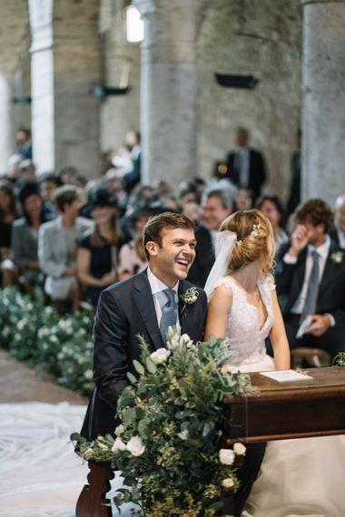 Italian Church Wedding Ceremony with Bride in Luisa Beccaria Wedding Dress