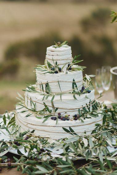 Elegant Wedding Cake with Vine Decor