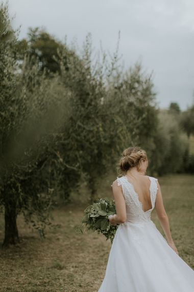 Bride in Luisa Beccaria Wedding Dress